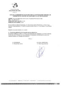 Acta de la Comisión de selección para la contratación temporal de un conductor