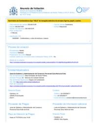 Anuncio de licitación en la Plataforma de Contratación
