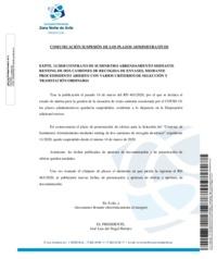 Comunicación suspensión de los plazoas administrativos