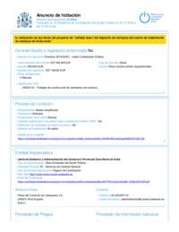 Anuncio de licitación en la Plataforma de Contratación del Sector Público