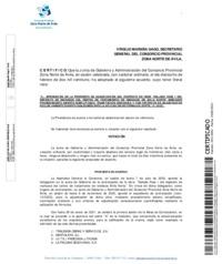 Certificado de la aprobación de la propuesta de adjudicación del contrato de obra